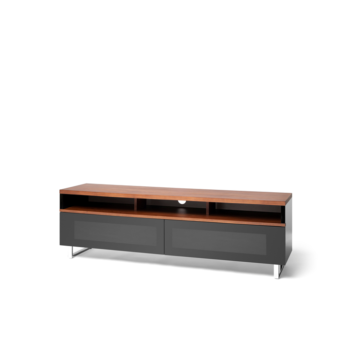 Techlink Panorama Pm160W+ Walnut Top & Gloss Black Tv Stand For Up In Newest Techlink Panorama Walnut Tv Stands (View 11 of 20)