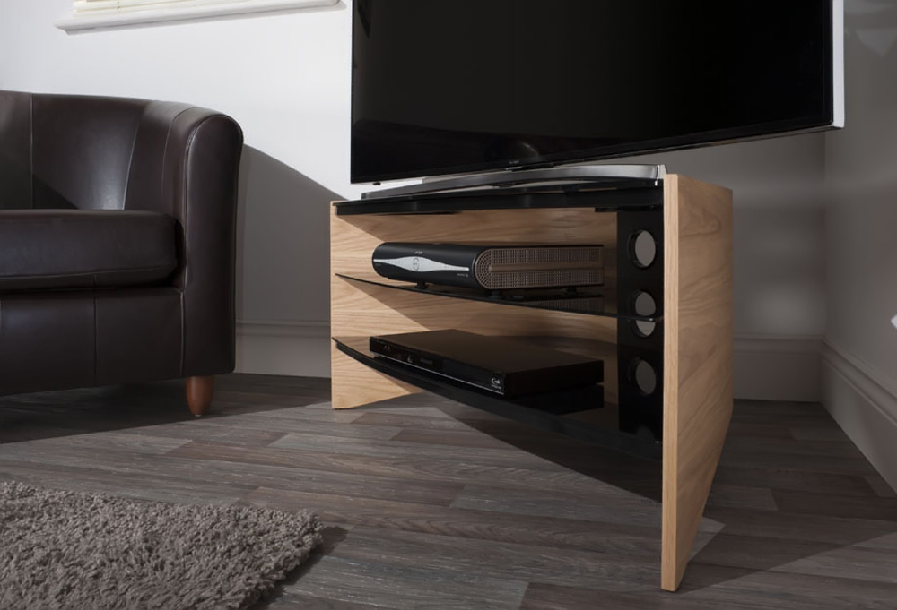 Techlink Riva Tv Stands With Famous Techlink Riva Rv100lo Corner Tv Stand With Curved Light Oak Side (View 4 of 20)