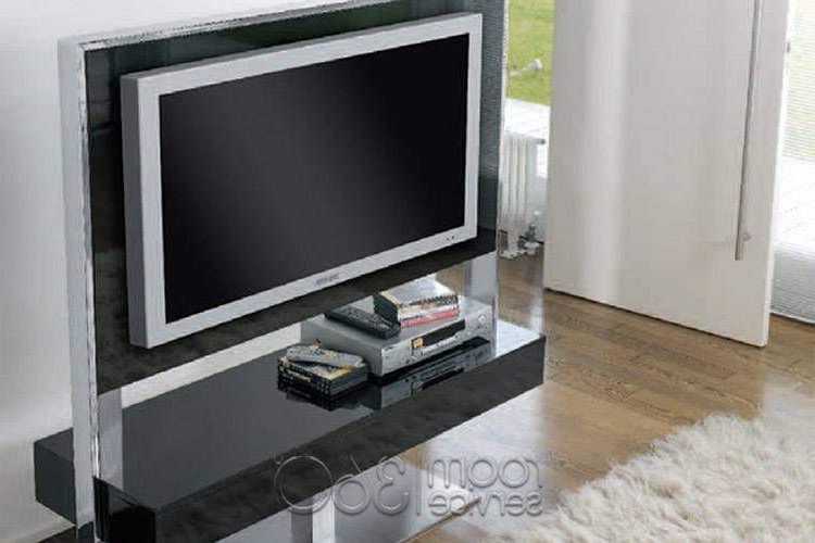 Tecno Plasma Tv Stand In Shiny Black Lacquerantonello Italia Regarding Well Known Shiny Tv Stands (View 9 of 20)