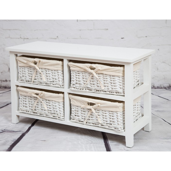 Television Stand With Four Wicker Baskets With Regard To Favorite Tv Stands With Baskets (View 12 of 20)