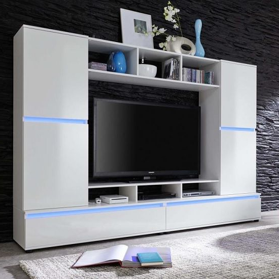 Texas Entertainment Unit In White Gloss Fronts With Led Lighting For Widely Used Tv Entertainment Unit (View 14 of 20)