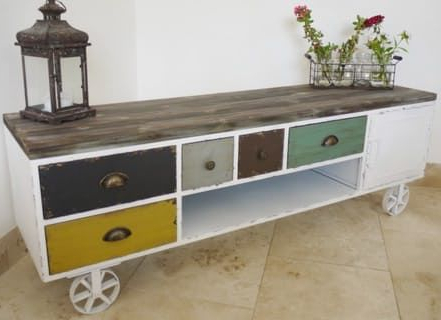 The Product Painted Multi Drawer Industrial Vintage Style Tv/media For Best And Newest Vintage Style Tv Cabinets (View 13 of 20)