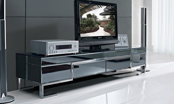 The Stylish Simplicity Of Stainless Steel Black Painted Tempered Intended For Famous Black Glass Tv Cabinets (View 8 of 20)