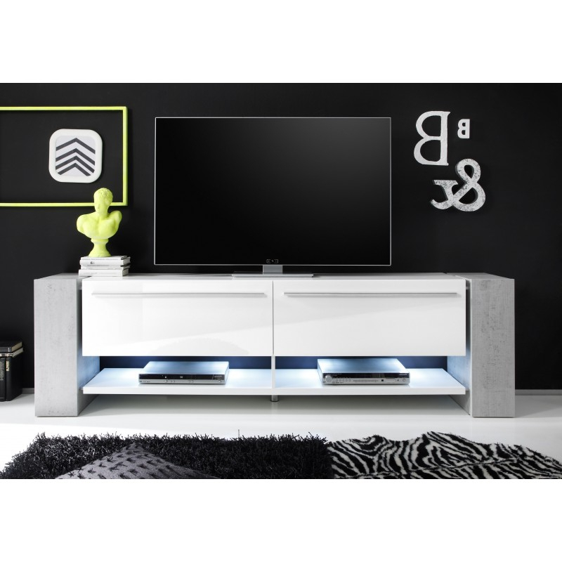 Time Ii – Large White Tv Stand With Stone Imitation Legs – Tv Stands Throughout 2017 Large White Tv Stands (Gallery 15 of 20)