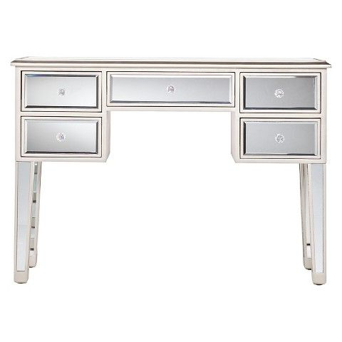 Tobias Mirrored Desk – Silver (View 8 of 20)