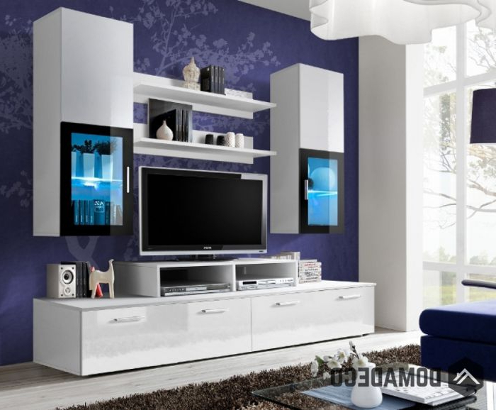 Toledo 1 – White High Gloss Wall Unit For 2017 Black Gloss Tv Wall Units (View 17 of 20)