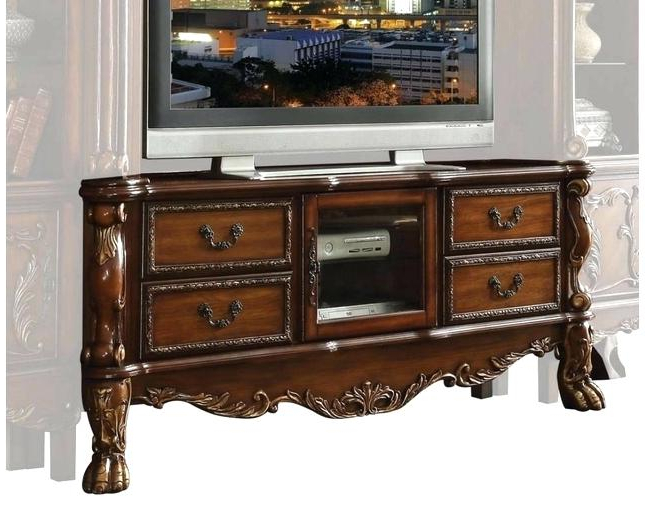 Traditional Tv Cabinets Within 2017 Cherry Wood Tv Stands Cabinets Traditional Carved Stand In Antique (View 14 of 20)
