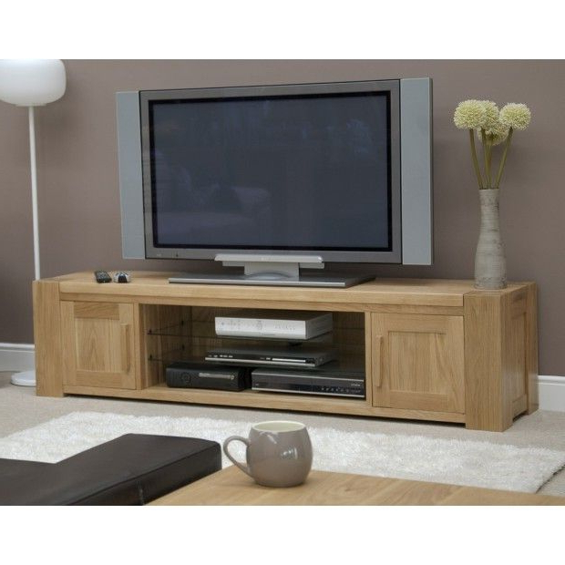 Trend Solid Oak Large Plasma/tv Unit (Gallery 12 of 20)