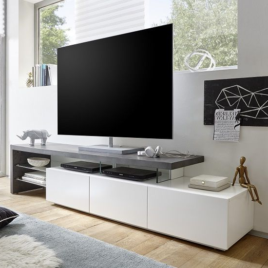 Trendy Alanis Modern Tv Stand In Concrete And Matt White With Storage In With White Contemporary Tv Stands (Gallery 19 of 20)