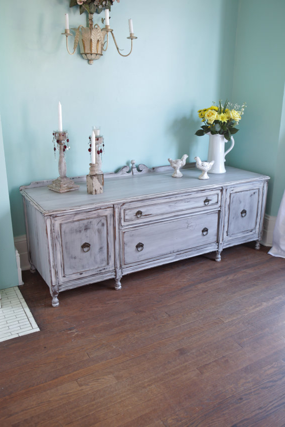 Trendy Antique Gray Shabby Chic Tv Stand Cabinet Distressed Cottage Prairie Inside Shabby Chic Tv Cabinets (Gallery 13 of 20)