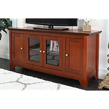 "Trendy Cheap Wood Tv Stands Throughout Amazon: Walker Edison 53"" Wood Tv Stand Console With Storage (View 13 of 20)"