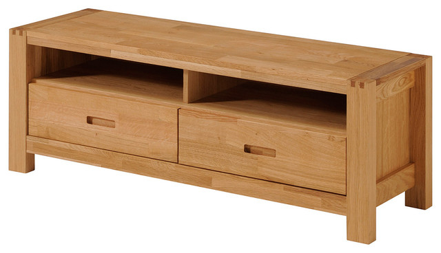 Trendy Contemporary Oak Tv Stands For Ethan French Oak Tv Stand With 2 Drawers And Shelves – Transitional (View 19 of 20)