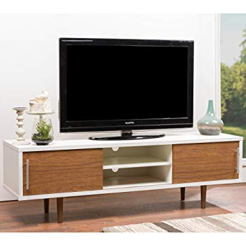 Trendy Contemporary Tv Stands Regarding Amazon: Baxton Studio Gemini Wood Contemporary Tv Stand, White (View 20 of 20)