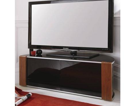Trendy Corner Tv Cabinets Pertaining To Sirius 1200 Black And Walnut Corner Tv Cabinet (View 15 of 20)
