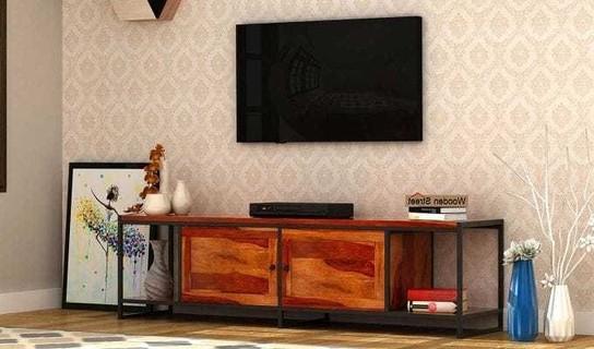 Trendy Denver Tv Unit (Honey Finish) Price In India (View 16 of 20)