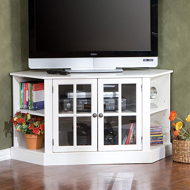 Trendy Harper Blvd Crescent White Corner Tv Stand (View 18 of 20)