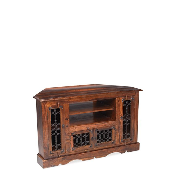 Trendy Jali Sheesham Wood Corner Tv Cabinet Throughout Wooden Corner Tv Units (View 13 of 20)
