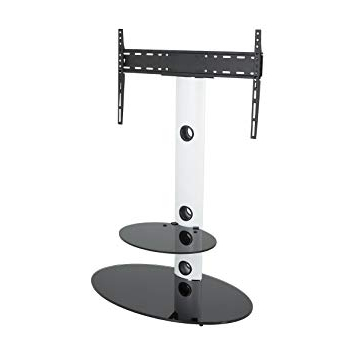 Trendy King Cantilever Tv Stand With Bracket Satin White Oval: Amazon.co (View 13 of 20)