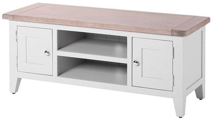 Trendy Light Oak Tv Cabinets In Buy Chalked Oak And Light Grey 2 Door Tv Unit Online – Cfs Uk (View 18 of 20)