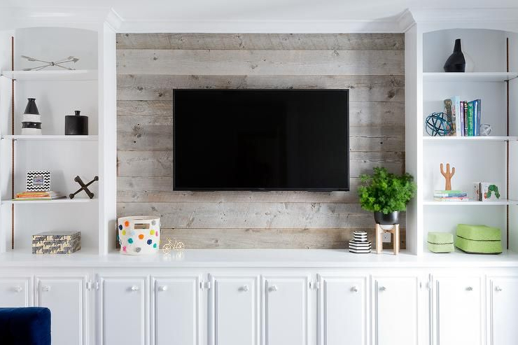 Trendy Living Room Tv Cabinets With Styled White Built In Cabinets Flank A Barn Board Wall Fitted With A (View 16 of 20)