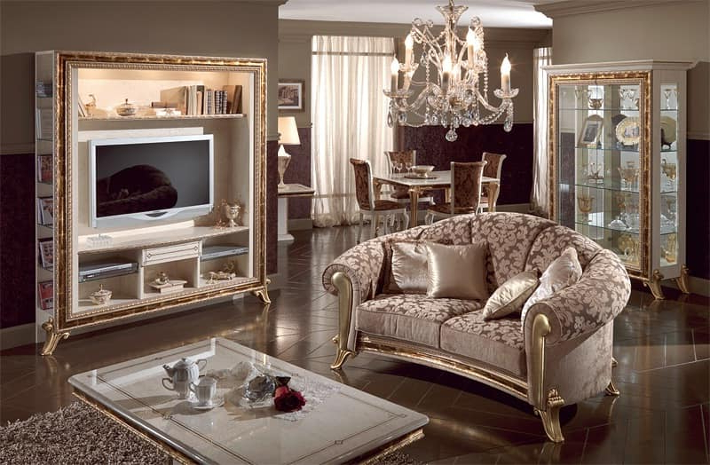 Trendy Luxury Tv Stands Pertaining To Luxury Tv Stand Lacquered Pearl White, Gold Decorations (View 9 of 20)