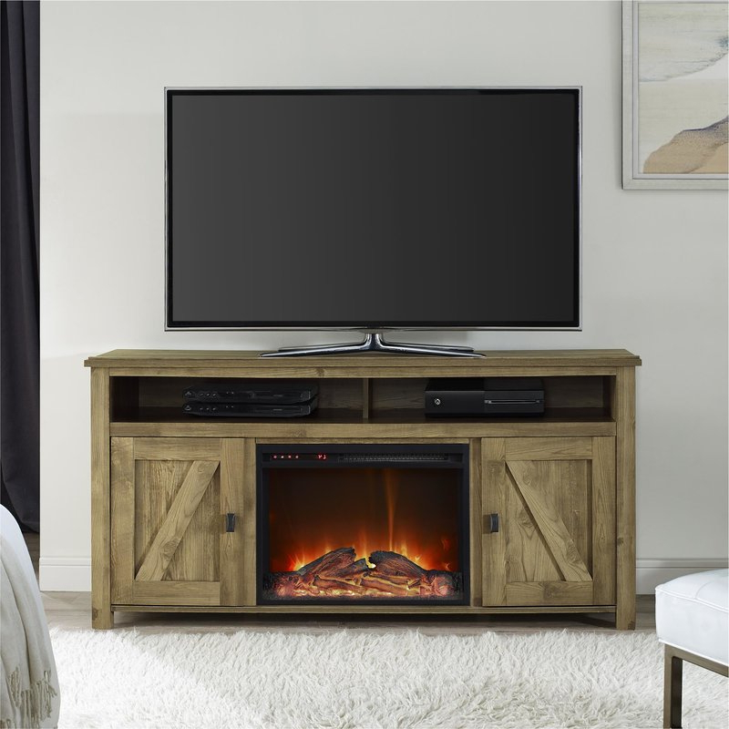 "Trendy Mistana Whittier Tv Stand For Tvs Up To 60"" With Fireplace & Reviews Within Dixon White 58 Inch Tv Stands (Gallery 1 of 20)"