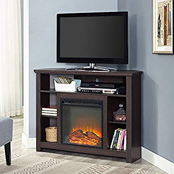 "Trendy Noah 75 Inch Tv Stands Regarding Amazon: We Furniture 48"" Wood Corner Fireplace Media Tv Stand (Gallery 17 of 20)"