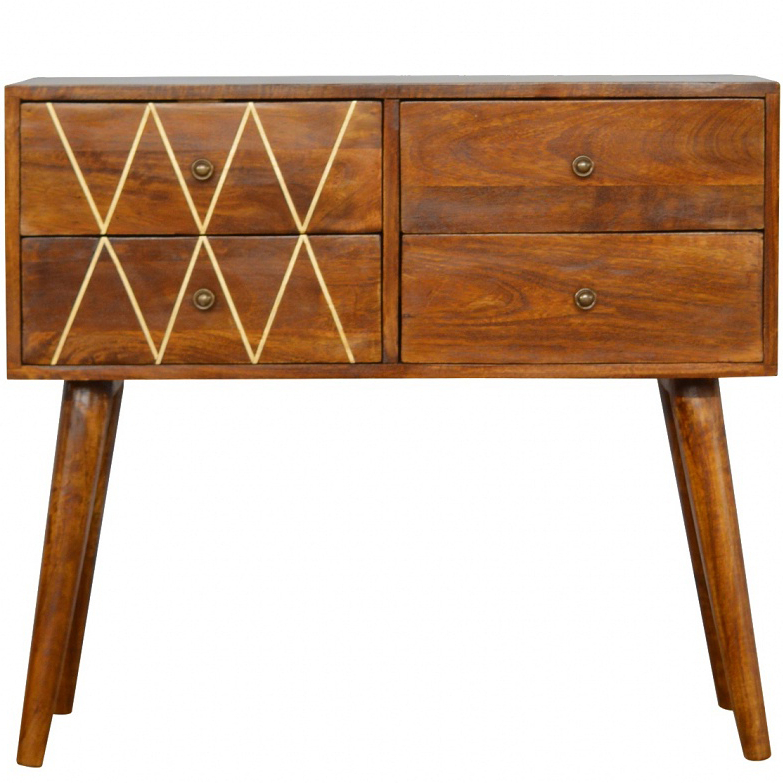 Trendy Orange Inlay Console Tables Intended For Mango Hill Nordic Style Console Table With 4 Brass Inlay Front Drawers (View 4 of 20)