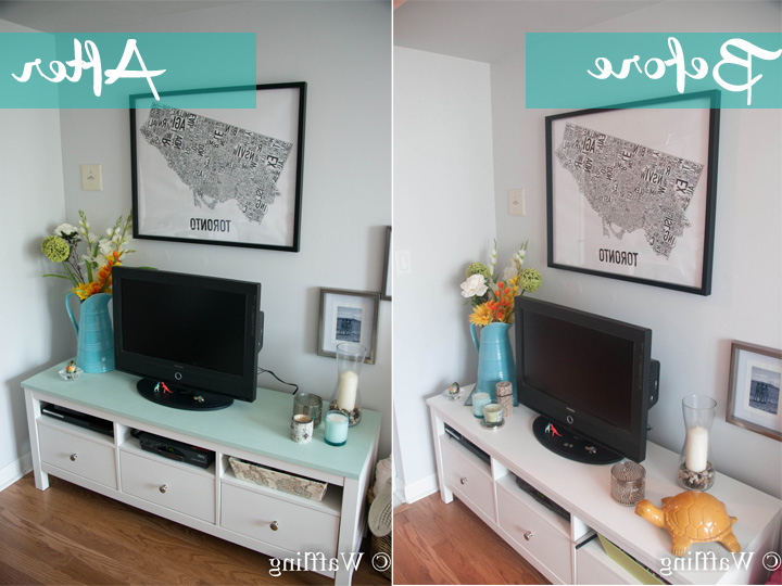 Trendy Painted Tv Stands Inside Waffling: Tv Stand Update With Chalk Paint® (View 11 of 20)