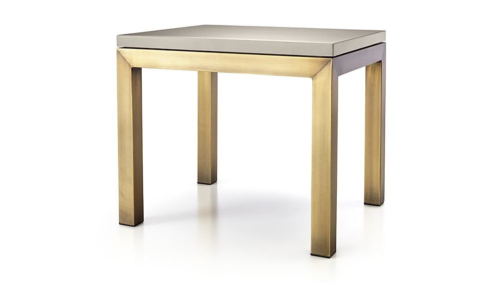 Trendy Parsons Grey Solid Surface Top/ Brass Base 20X24 End Table + Reviews Within Parsons Grey Solid Surface Top & Dark Steel Base 48X16 Console Tables (Gallery 2 of 20)