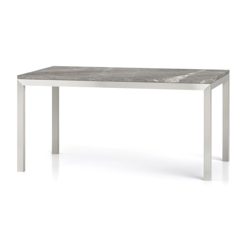 Trendy Parsons White Marble Top & Dark Steel Base 48X16 Console Tables With Regard To Parsons Grey Marble Top/ Stainless Steel Base 60X36 Dining Table (View 18 of 20)