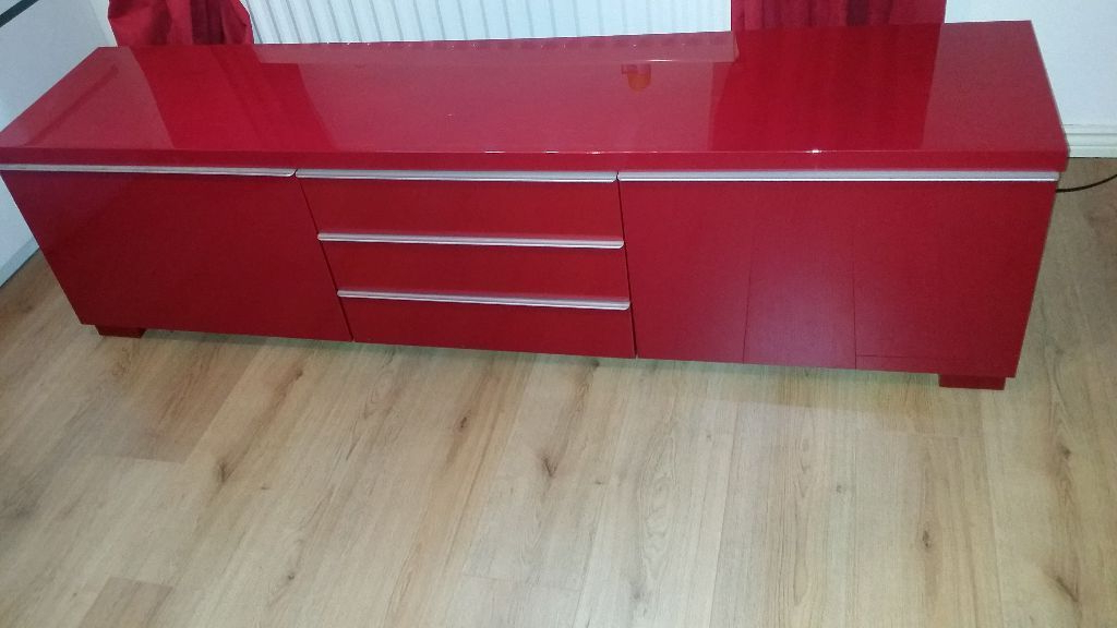 Trendy Red Gloss Tv Cabinets For Ikea Red High Gloss Besta Burs Tv Unit Rrp 200 (Gallery 8 of 20)