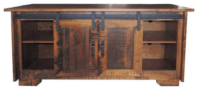 Trendy Rustic Tv Stand Distressed Rough Sawn Maple Wood – Rustic In Maple Wood Tv Stands (View 11 of 20)