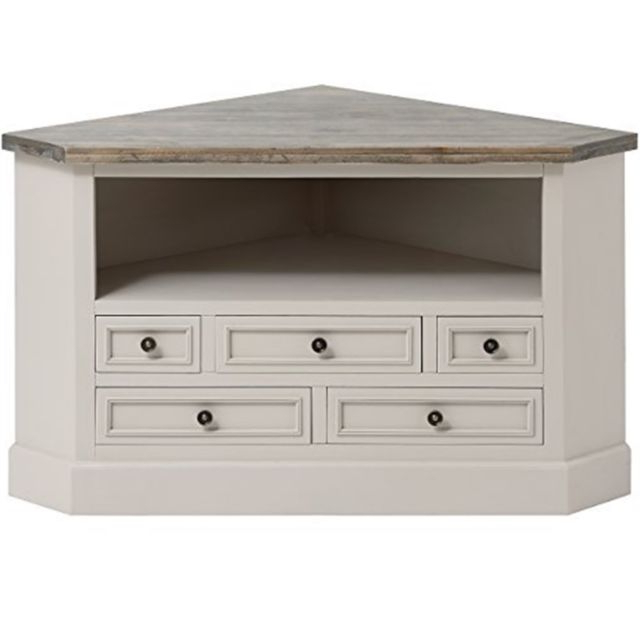 Trendy Shabby Chic Corner Tv Unit Regarding Hill Interiors Studley Collection 5 Drawer Corner Tv Unit Stand Grey (Gallery 4 of 20)