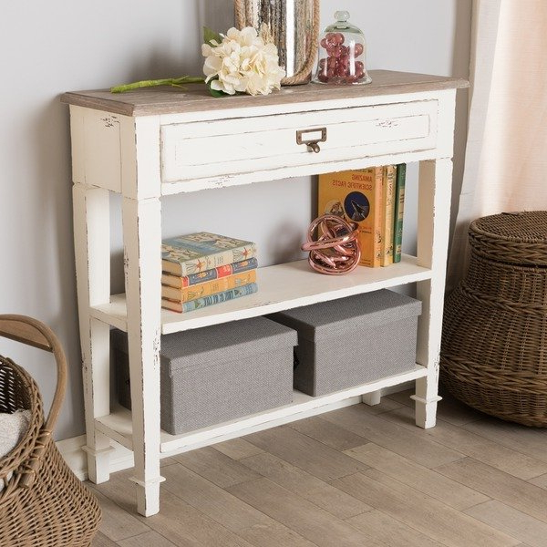 Trendy Shop The Gray Barn Mead Grove Traditional French Accent White In Mix Leather Imprint Metal Frame Console Tables (View 18 of 20)