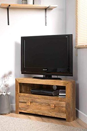 Trendy Small Corner Tv Cabinets For Casa Bella Furniture Dakota Light Mango Small Corner Tv Unit – Solid (Gallery 14 of 20)