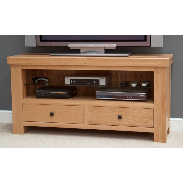 Trendy Solid Oak Tv Cabinets Pertaining To Bordeaux Solid Oak Tv Unit (View 19 of 20)