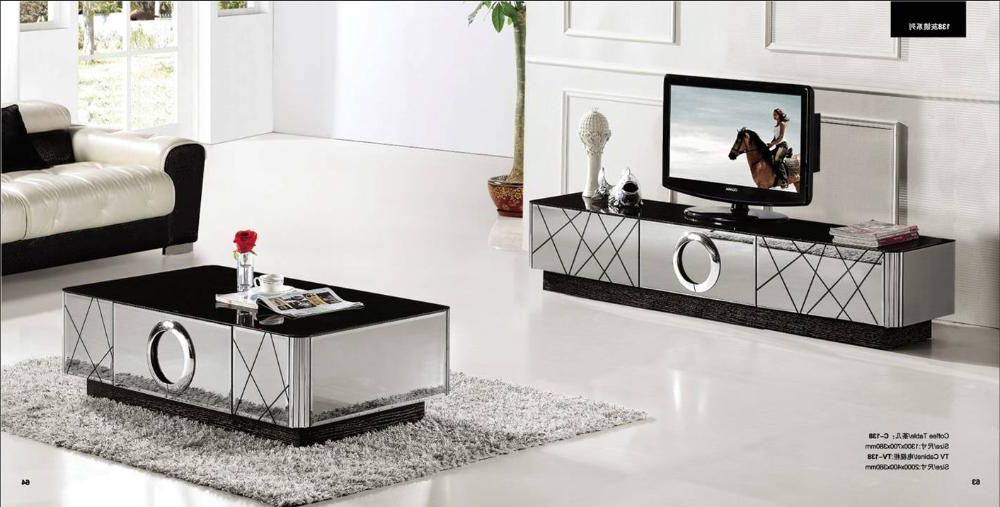 Trendy Tv Stand Coffee Table Sets Regarding Modern Gray Mirror Modern Furniture, Coffee Table And Tv Cabinet Set (Gallery 8 of 20)