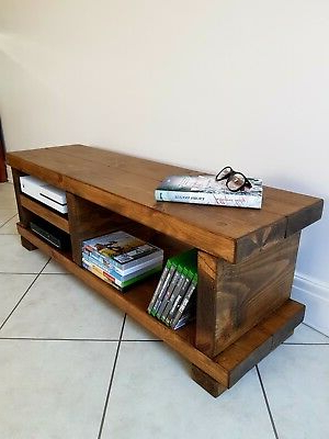 Trendy Tv Stand/tv Unit/chunky Rustic Handmade Furniture/solid Pine Wood/tv Regarding Chunky Wood Tv Units (Gallery 8 of 20)