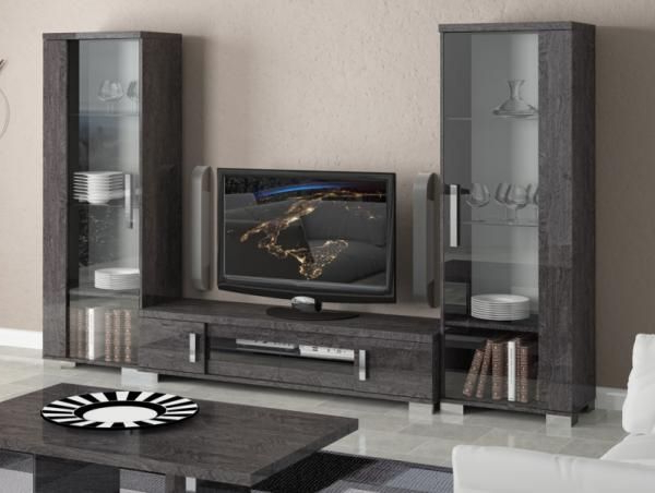 Trendy Tv Stands Throughout Most Current Venicia Grey Birch Contemporary Tv Stand And 2 Display Cabinets (View 14 of 20)