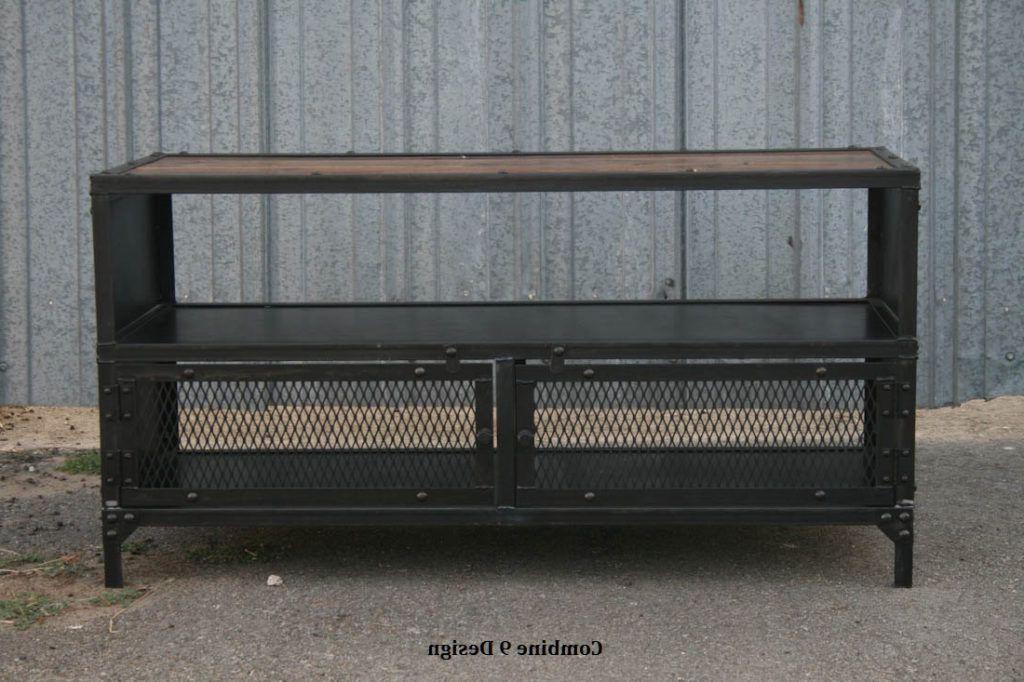 Trendy Vintage Industrial Tv Stand. Reclaimed Wood & Steel (View 9 of 20)