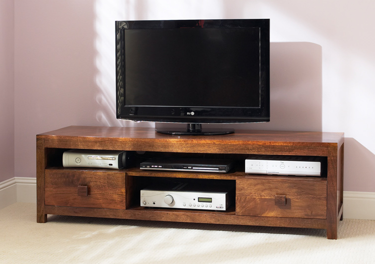 Trendy Wide Tv Cabinets Inside Solid Mango Large Tv Unit/media Cabinet/stand 140Cm/150Cm/160Cm (View 13 of 20)