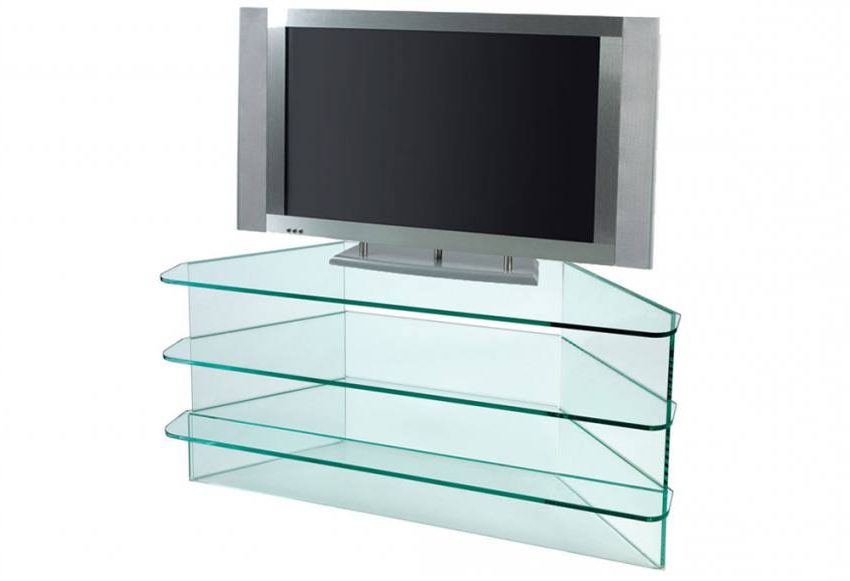 Triangular Tv Stands Regarding Most Recent Greenapple Furniture – Plasma Large Corner Tv Stand – 12Mm Clear Or (Gallery 9 of 20)