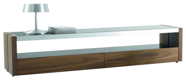 Trieste Modern Tv Stand In Matte Walnut With Black Glass Top In Most Recent Wood Tv Stands With Glass Top (Gallery 2 of 20)