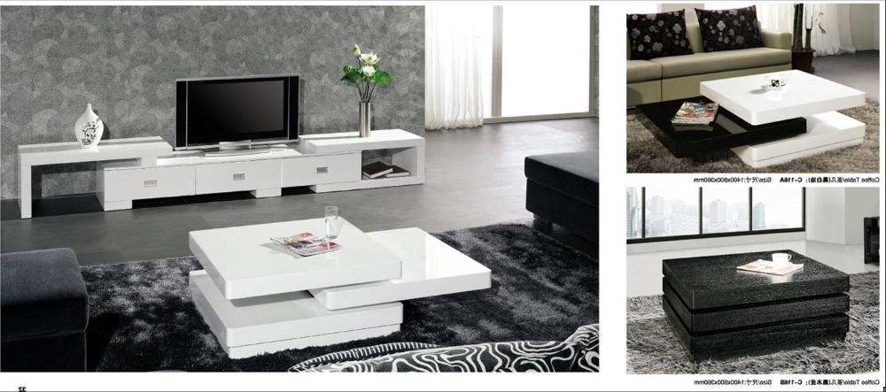 Tv Cabinet And Coffee Table Sets Throughout 2017 Rolling Coffee Table And Tv Cabinet Set, Piano White And Black Wood (Gallery 10 of 20)