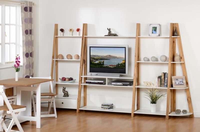 Tv Cabinets Corner Units Throughout Fashionable Santos Ladder Shelving Units – Tv Unit, 1 Drawer Unit, 4 Shelf Unit (View 15 of 20)
