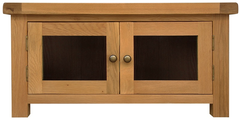 Tv Cabinets : Oldbury Rustic Oak Standard Tv Unit With Glass In Best And Newest Oak Tv Cabinets With Doors (View 16 of 20)