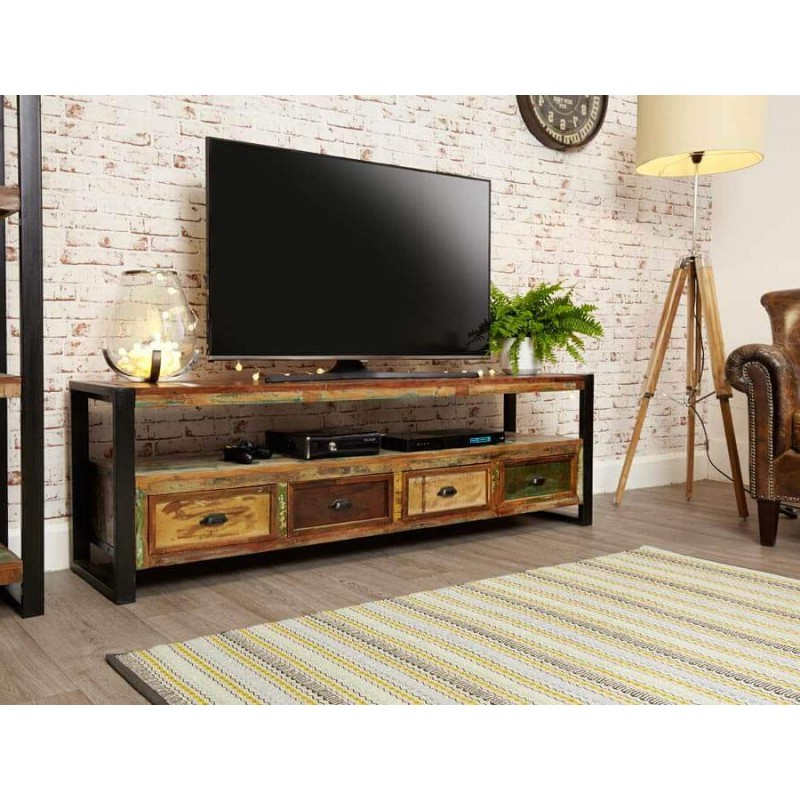 Tv Cabinets Throughout Fashionable Industrial Reclaimed Wide Tv Cabinet (View 16 of 20)