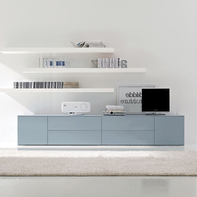 Tv Drawer Units Pertaining To Well Liked Space Extra Large 3 Meter Tv Unit, Blue (View 14 of 20)