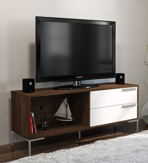 Tv Drawer Units With Popular Buy Birubao Tv Unit With 2 Drawers In Dark Brown And White Finish (View 15 of 20)
